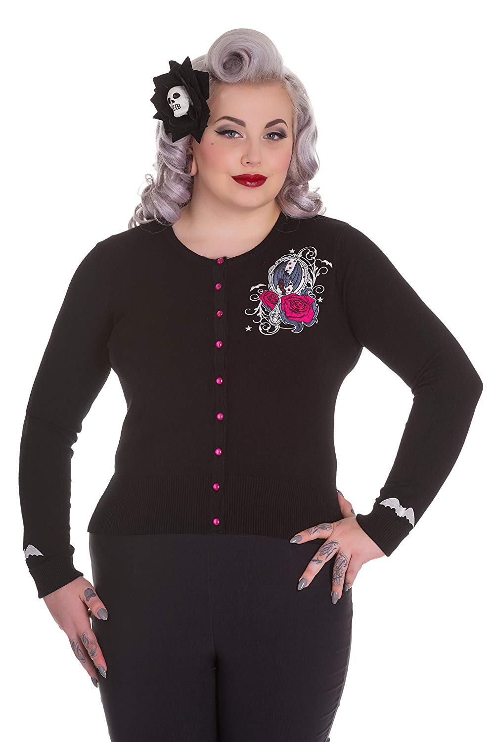 8fde2f7c4 Get Quotations · Hell Bunny Plus Size Gothic Black Kalonice Bat Roses  Cardigan