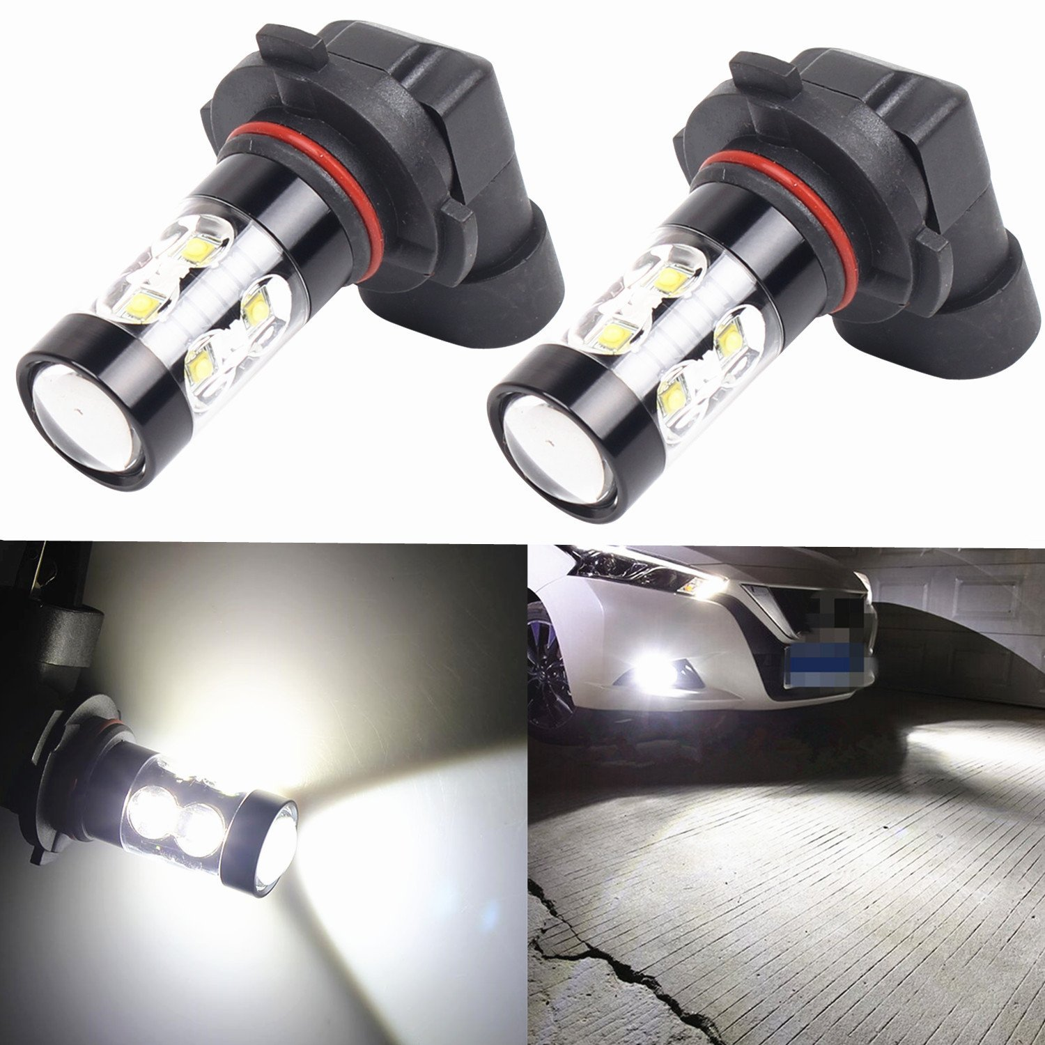 Alla Lighting 50W CREE 9006 HB4 White High Power Extremely Super Bright LED Fog Lights Lamps Replacement