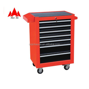 popular red black packing tool cart js-32 7-drawer garage storage trolley