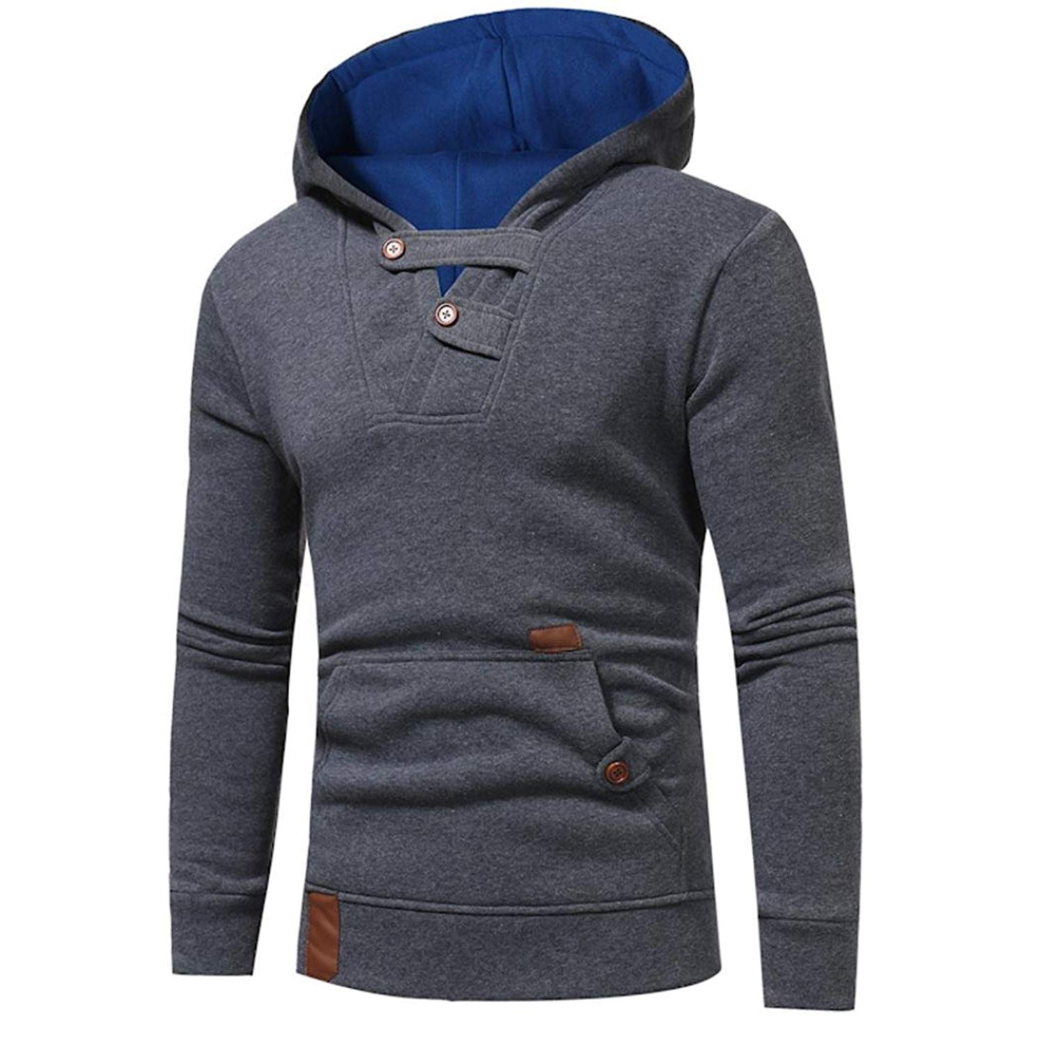 Hot Sale!Mens Hoodies,Bokeley Fashion Long Sleeve Oblique Zipper Pullover Hooded Sweatshirt Kangaroo Pocket Jacket Coat Outwear