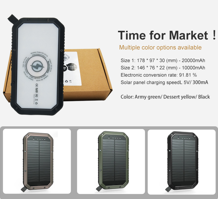 2019 Hot 20000 MAh Baterai Tenaga Surya Bank Portable Tahan Air Qi Wireless Solar Charger 20000 MAh Power Bank Charger Nirkabel