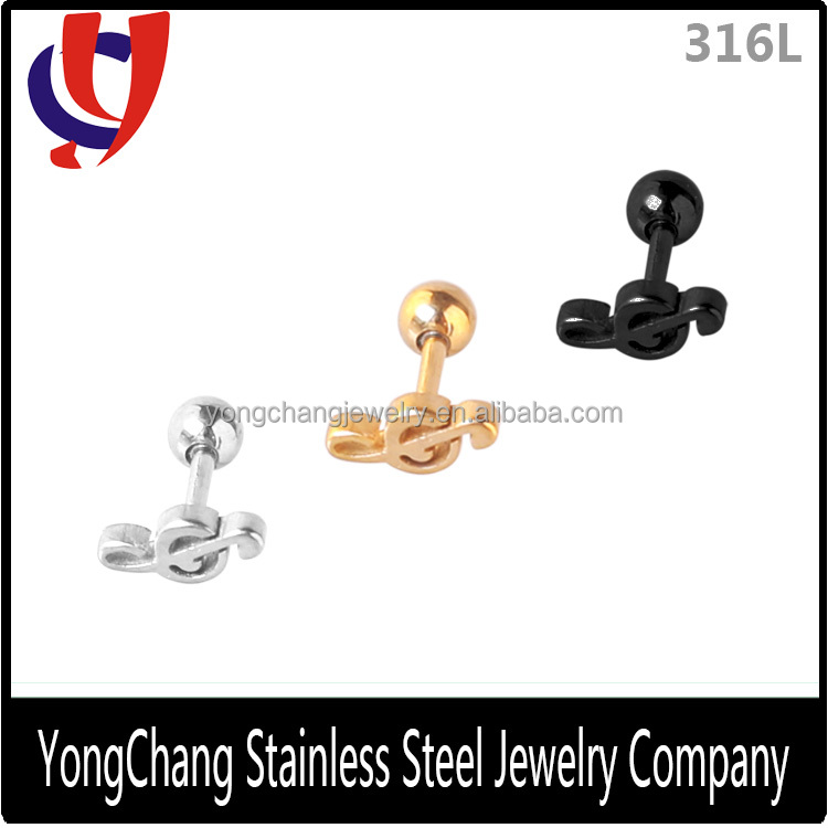 Black/silver/gold 316L stainless steel ear surface piercings with a beautiful note titanium promotional earring jewelry