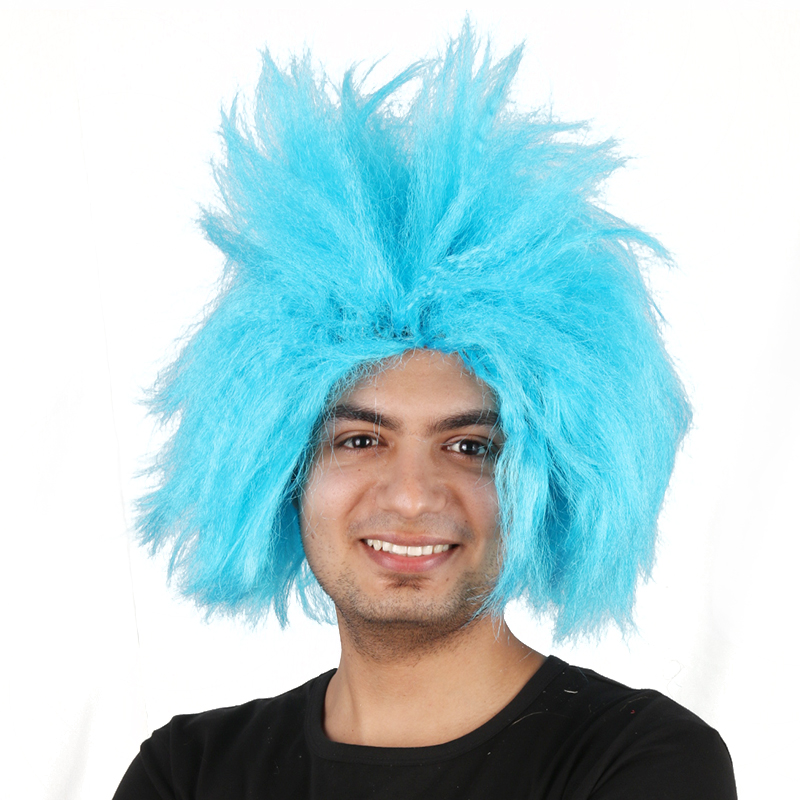 QY-9216 Dr seuss thing hair wigs Funky Spiky Blue Wig