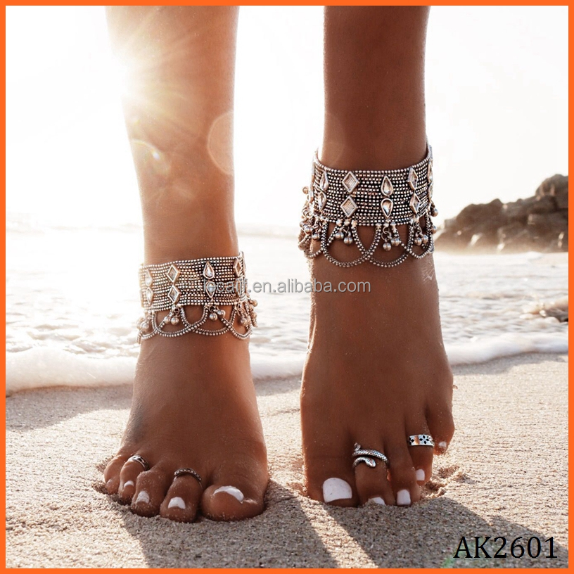 beautiful item beach foot barefoot girl s anklet silver accessories jewelry chain adjustable cool sandal
