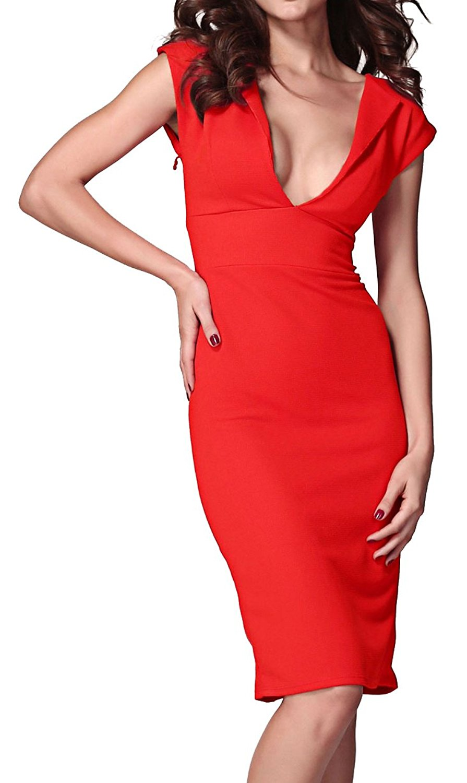 b44c1e3ec7 made2envy Womens Cap-Sleeve Pencil Dress Midi Length Plunge V Neck Office  Dress