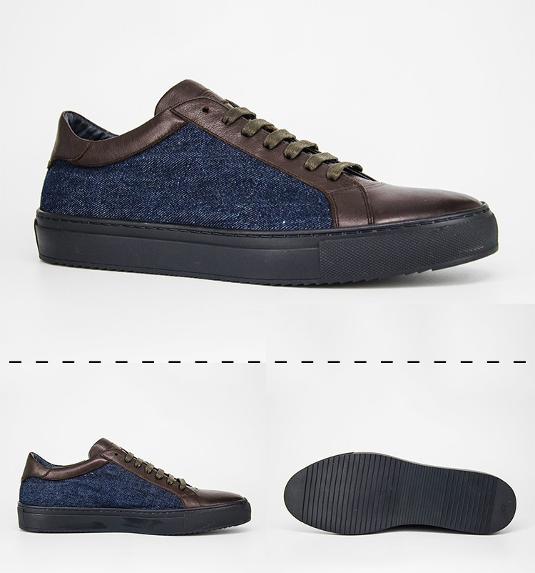 Fashion Style Quality Fabric Match Leather Blue Jeans Shoes For Men