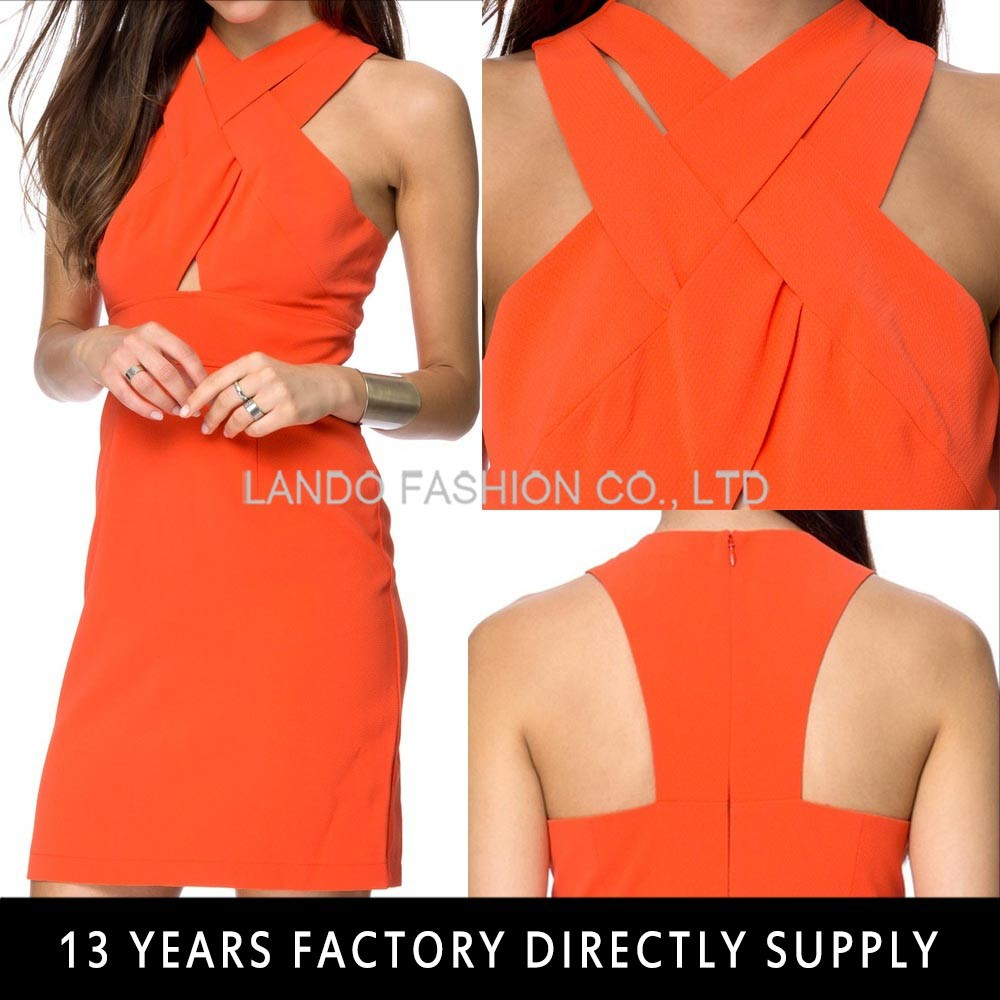 Wholesale Clothing Orange Color Strap Cross Women Ladies Night Sexy Dresses