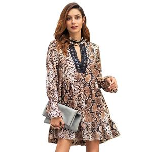 MY-266 Fashion Sexy V neck Leopard print halter tied long sleeve lace dress with ruffle sleeve designs womens elegant skirt