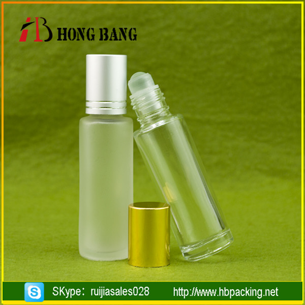 Most popular transparent vial 8ml 10ml frosted roll on glass bottle for liquid