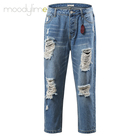 Moodylime Spring, Summer and Autumn New Fashion Leisure Ground Hole Jeans Women's Straight Bottom Nine-minute Pants Retro Jeans