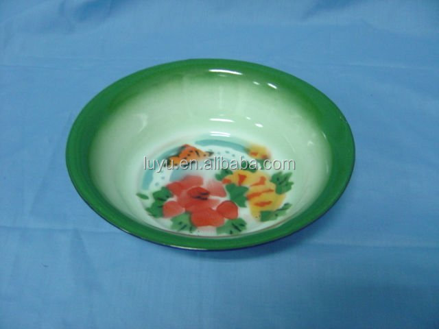 Nice Plain And Deco Enamel Rice Plate