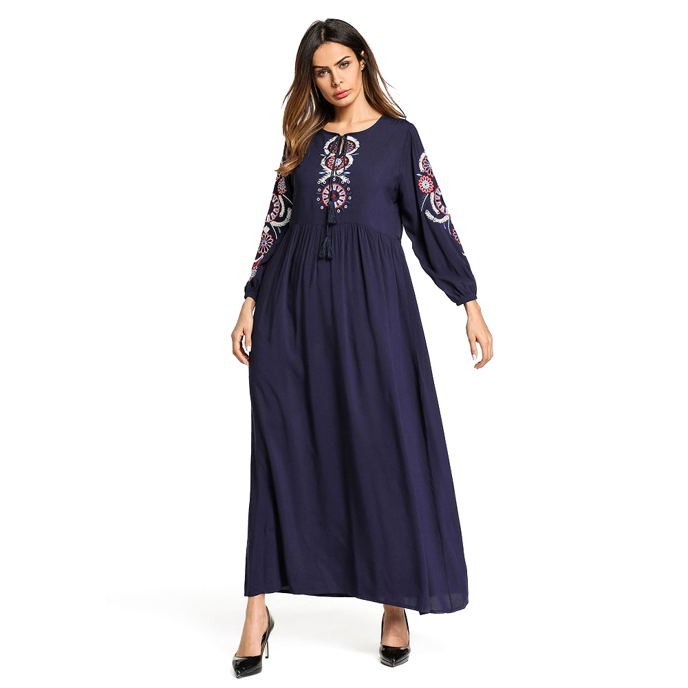 cb6244e021a80 Zakiyyah 5752 Yeni Model Abaya dubai'de Güzel Çiçek Nakış Malezya Pamuk  Uzun Elbise