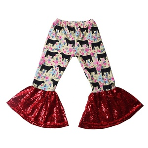 Custom toddler printed floral cow print red sequin bell bottom pants for kids girls