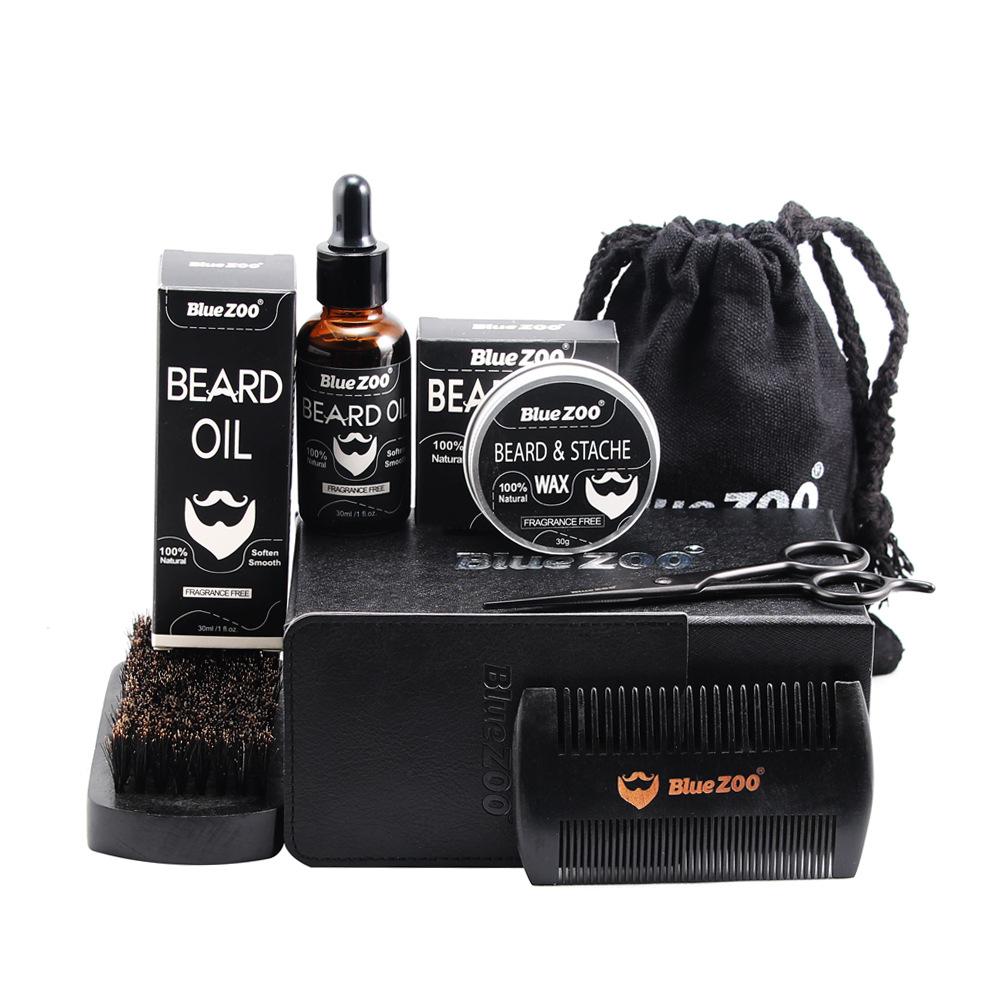 Amazon top brand BlueZOO 7pcs black beard care set beard grooming kit for man