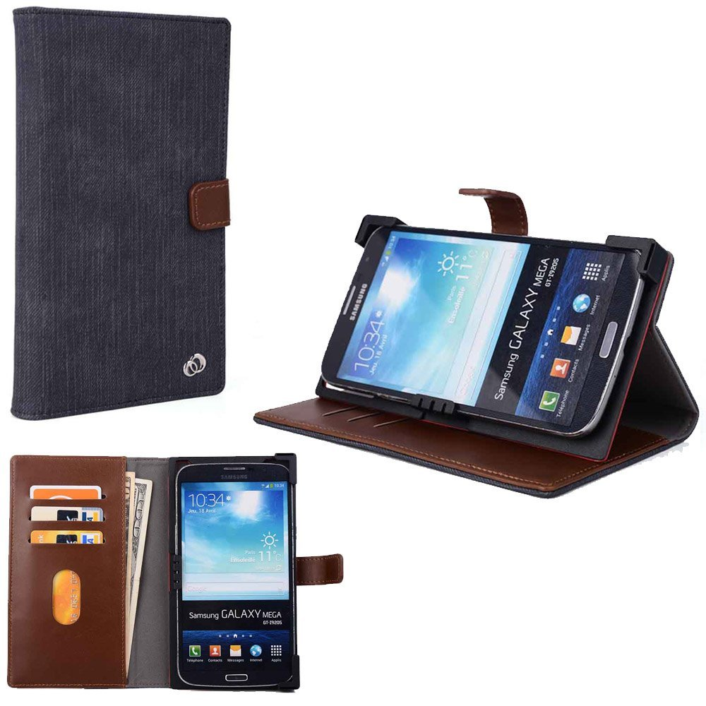 "Archos 55 Cobalt Plus, Archos 55 Helium Plus Smart Phone Protective Carrying Cover Case with card holders ""Denim Series"""