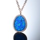 Fashion gold plated 925 silver jewelry synthetic blue fire opal pendant setting with cz