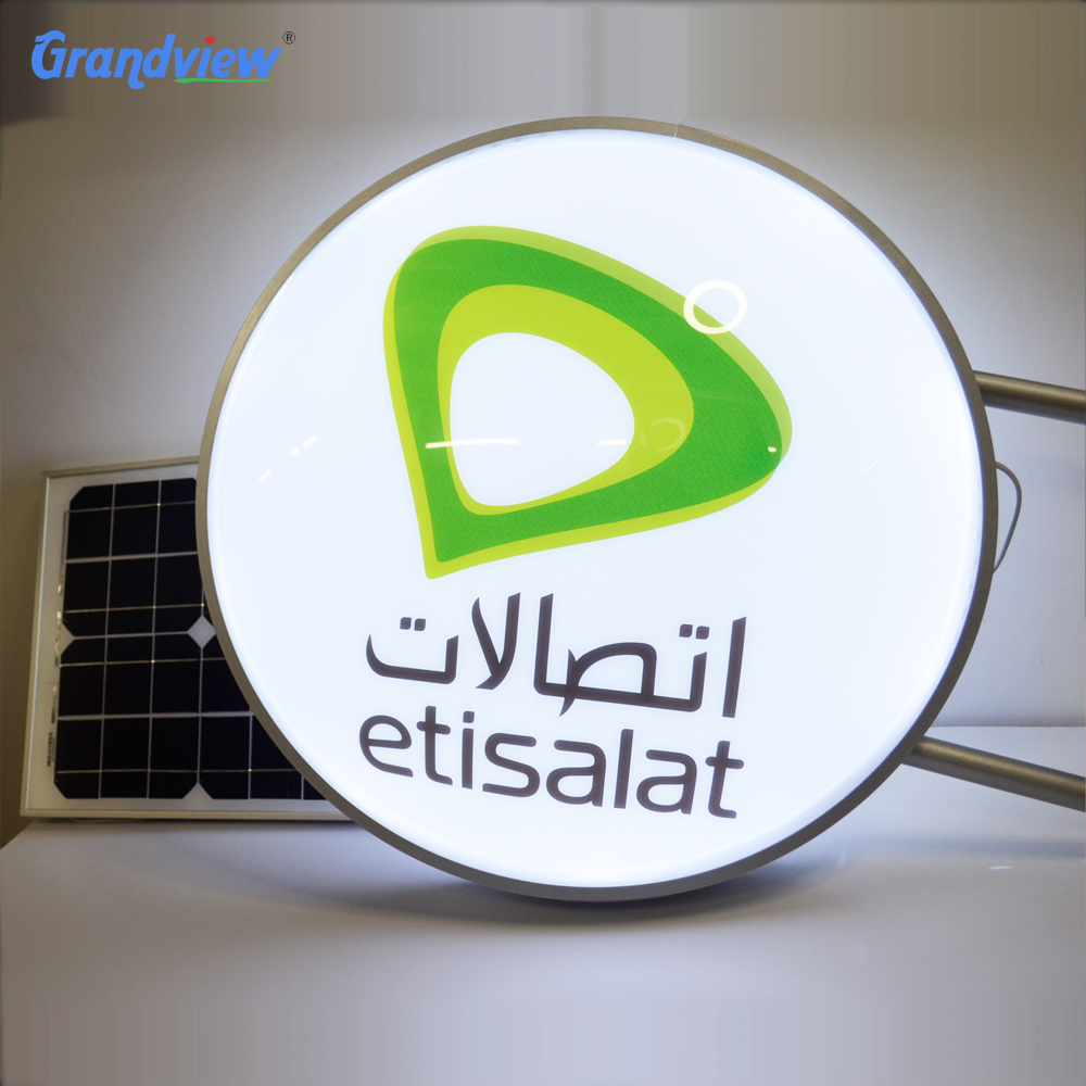 Exterior acrylic custom logo wall mounted solar advertising signage
