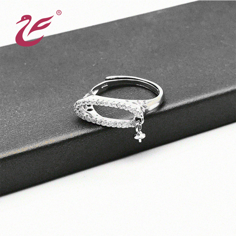 Custom pearl ring mountings charming 925 silver ring designs for girl