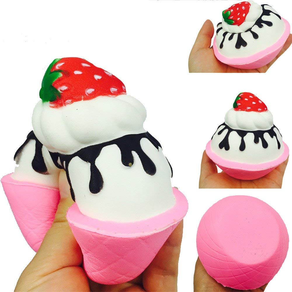 USHOT Clearance Squishy Strawberry ice cream Scented Charm Slow Rising Stress Reliever Toy
