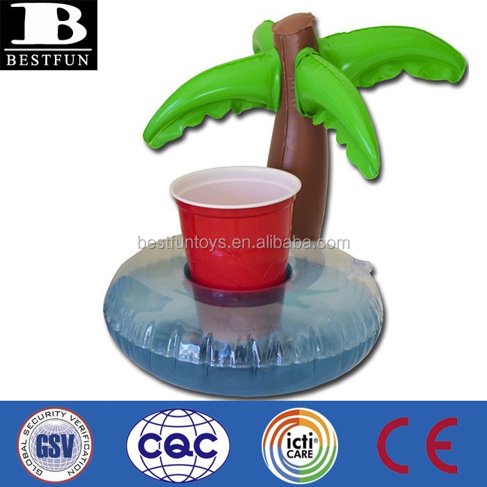 Palm Tree Inflatable Pool Drink Holder Plastic Outdoor Camping ...