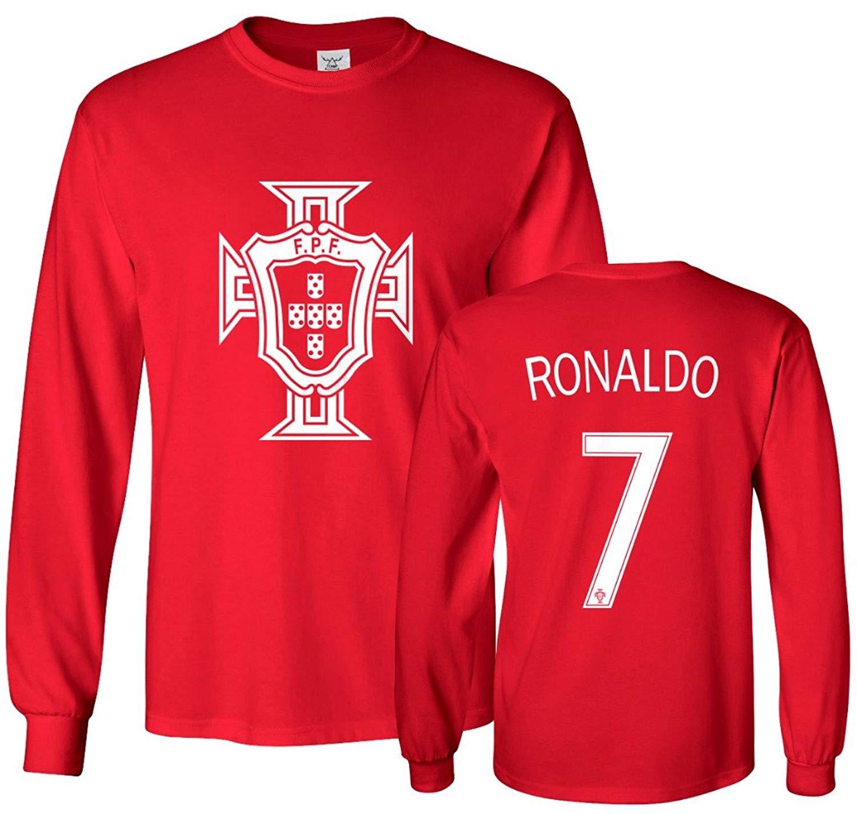 05568ba3c Get Quotations · Tcamp Portugal Soccer Shirt Cristiano Ronaldo  7 Jersey  Men s Long Sleeve T-shirt