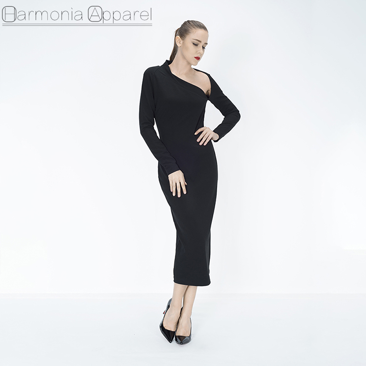 2018 New Arrival L868 High Quality Factory low price Fashion sexy long sleeve black muslim evening dress