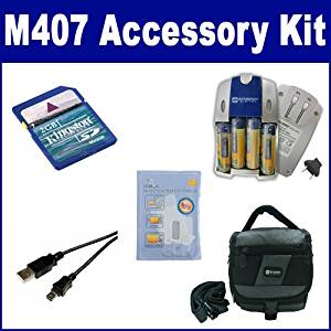 HP PhotoSmart M407 Digital Camera Accessory Kit includes: ZELCKSG Care & Cleaning, SDC-27 Case, KSD2GB Memory Card, USB5PIN USB Cable, SB257 Charger