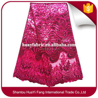 Factory Supply Fuchsia pink lace fabric 100% Polyester mesh lace fabric african lace with sequence HYX0033