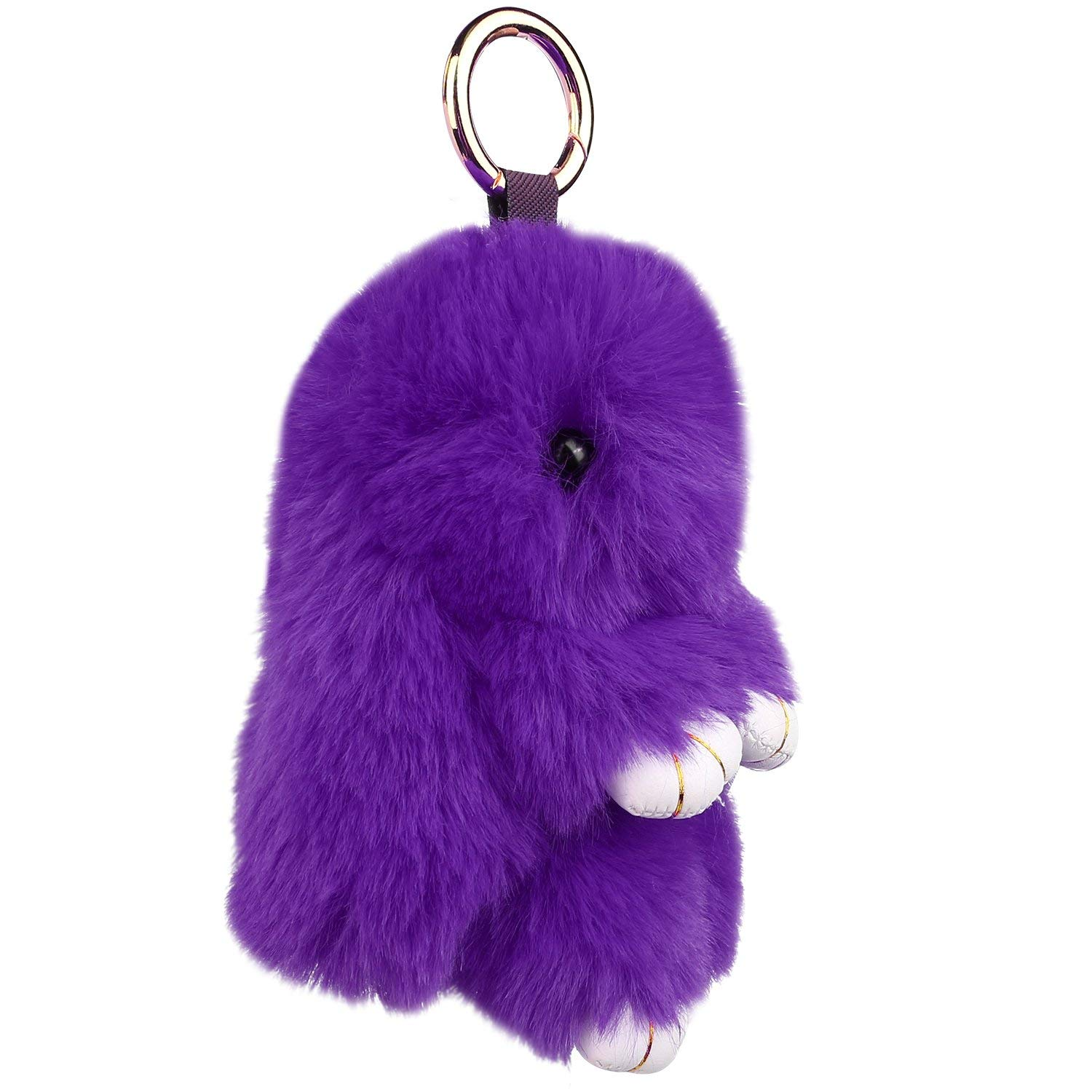 b0cfbcc364 ... Auranso Bunny Keychain Plush Rabbit Faux Fur Keyring Bag Fluffy Pompom Charms  Pendant Decoration best value ...