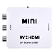Mini Composite AV to HD AV to hd RGB Adapter converter box support PAL/NTSC 720P or 1080P with USB Cable
