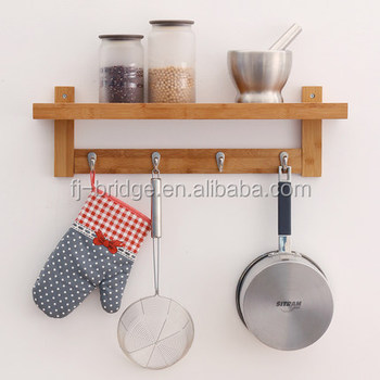 Bamboo Wall Mount Shelf With 5-hook Rack For Bedroom Kitchen Bathroom - Buy  Wall Mount Shelf,Wall Shelf,Wall Hook Product on Alibaba.com