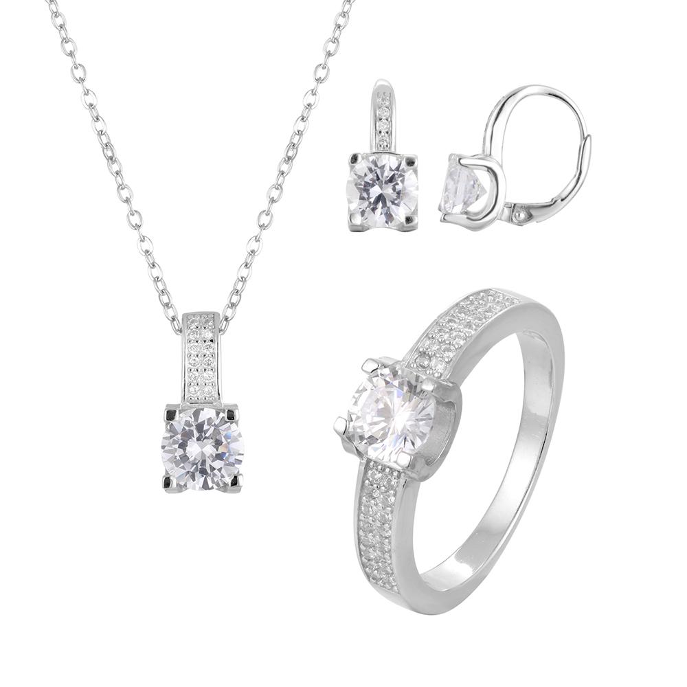 Cúbicos de zircônia conjunto de jóias de noiva lindo bijuterias pesados
