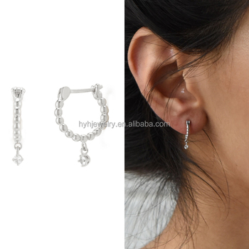 Vintage fashion white gold cz drop earring artificial 925 sterling silver hoop  earrings for women db10a63a73