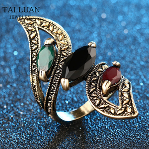 Vintage Big grandiloquent gemstone Ring Antique Mosaic Colorful Resin Rings For Women Turkish Jewelry