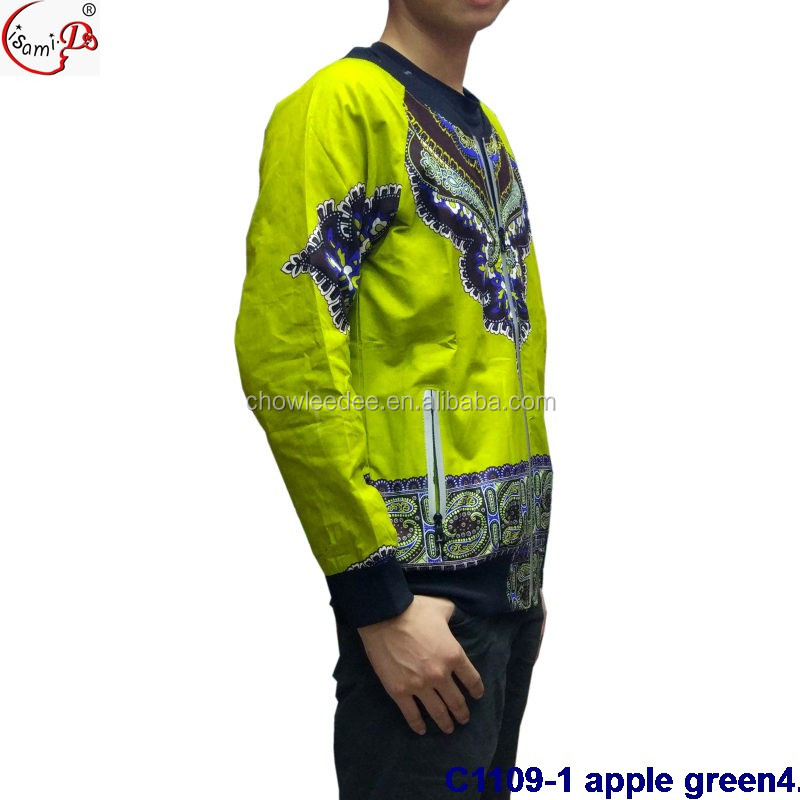 New arrival in many color stock apple green bazin embroidery design mens jacket C1109