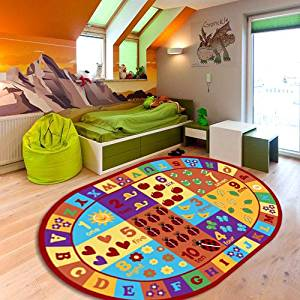 "Furnish my Place Kids ABC area rug Educational Alphabet Letter & Numbers Multicolor Actual size anti skid (3'3"" x 5' Oval)"