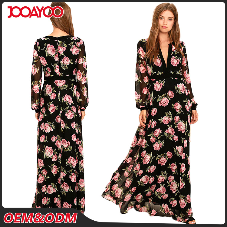 Daily Life Fashion One Piece Mix Color Casual Dresses Printed Black New Style Long Chiffon Dress