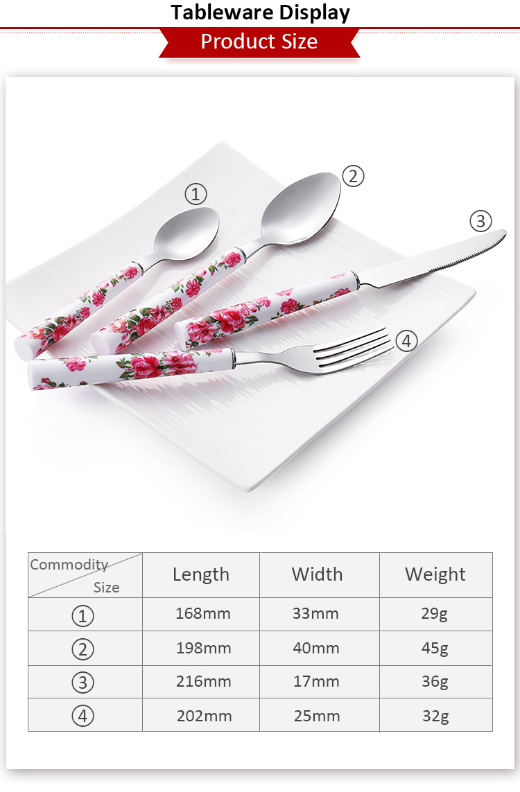 Family Reunions Use Plastics handle Cutlery Set Stainless Steel