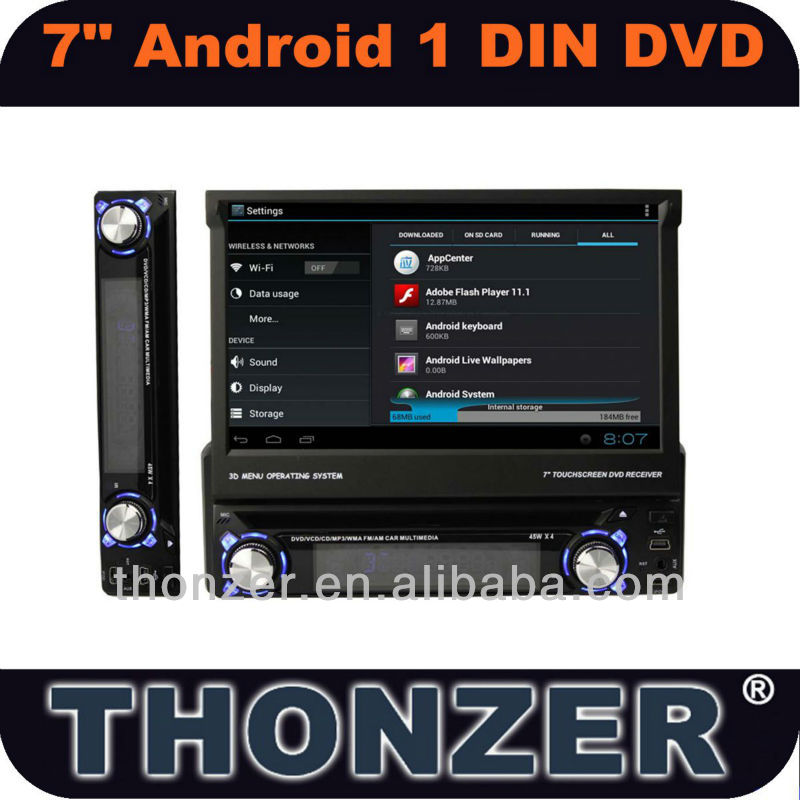 Android 4.0 DVD 7 ''1 DIN Universal Suporte WI-FI/3G Carro GPS NAVIAGATION