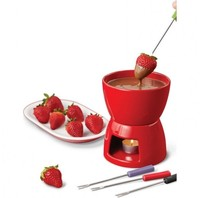 Diy Switzerland red color mini small cheap ceramic chocolate cheese fondue with candle