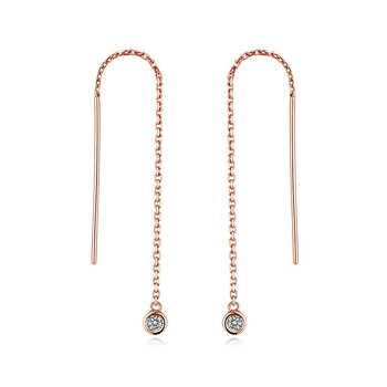 S925 tassel wire earrings for girls with 4mm crystal
