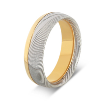 Unique men gold inlay damascus steel wedding ring new fashion jewelry
