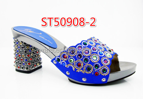 with dresses blue shoes slippers square Sandals ST50908 Women heel african 2 dark stone upper 5x0w8pqnTA
