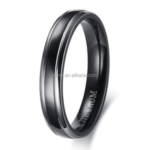 4MM Thin Men Ring Black High Quality Titanium Casual Male Alliance Jewelry