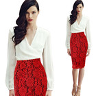 Women's Skirt High Waist Pencil Skirt Summer Fashion Women Knee Length Red Lace Lady Formal Work Skirts Plus Size E3555