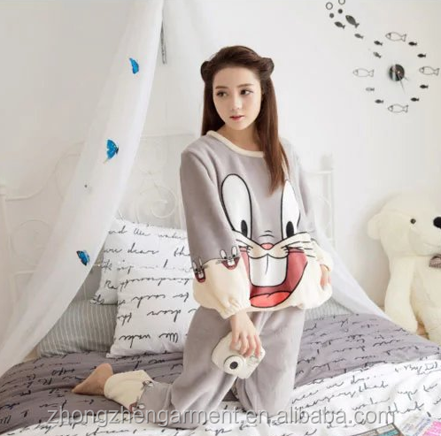 Fashion winter breathable plus size flannel sleepwear women cute cotton night pyjamas for sale