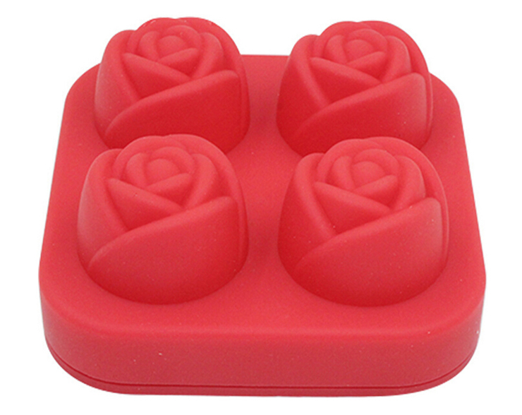 Bar Kitchen Accessories DIY 3D Silicone Ice Cube Mold Rose Shape Silicone Ice Cream Popsicle Mold Tray