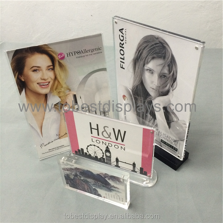 "Hot sale classic custom 5 x 7 acrylic sign holder, 5"" x 7"" T shape plexi brochure sign holder stand"