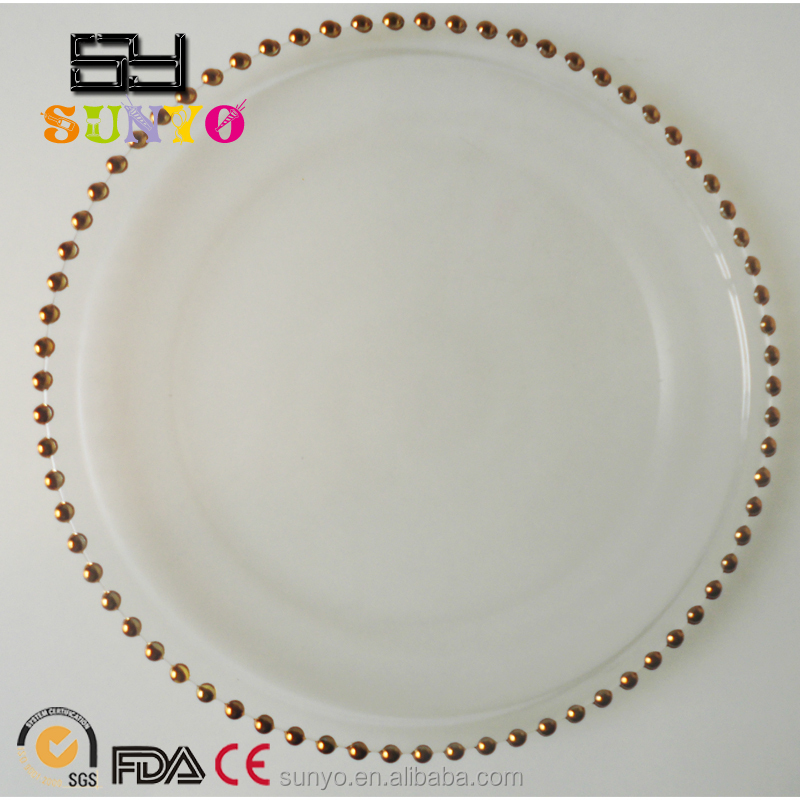 Wholesale Cheap Gold Beaded Clear Glass Charger <strong>Plates</strong>