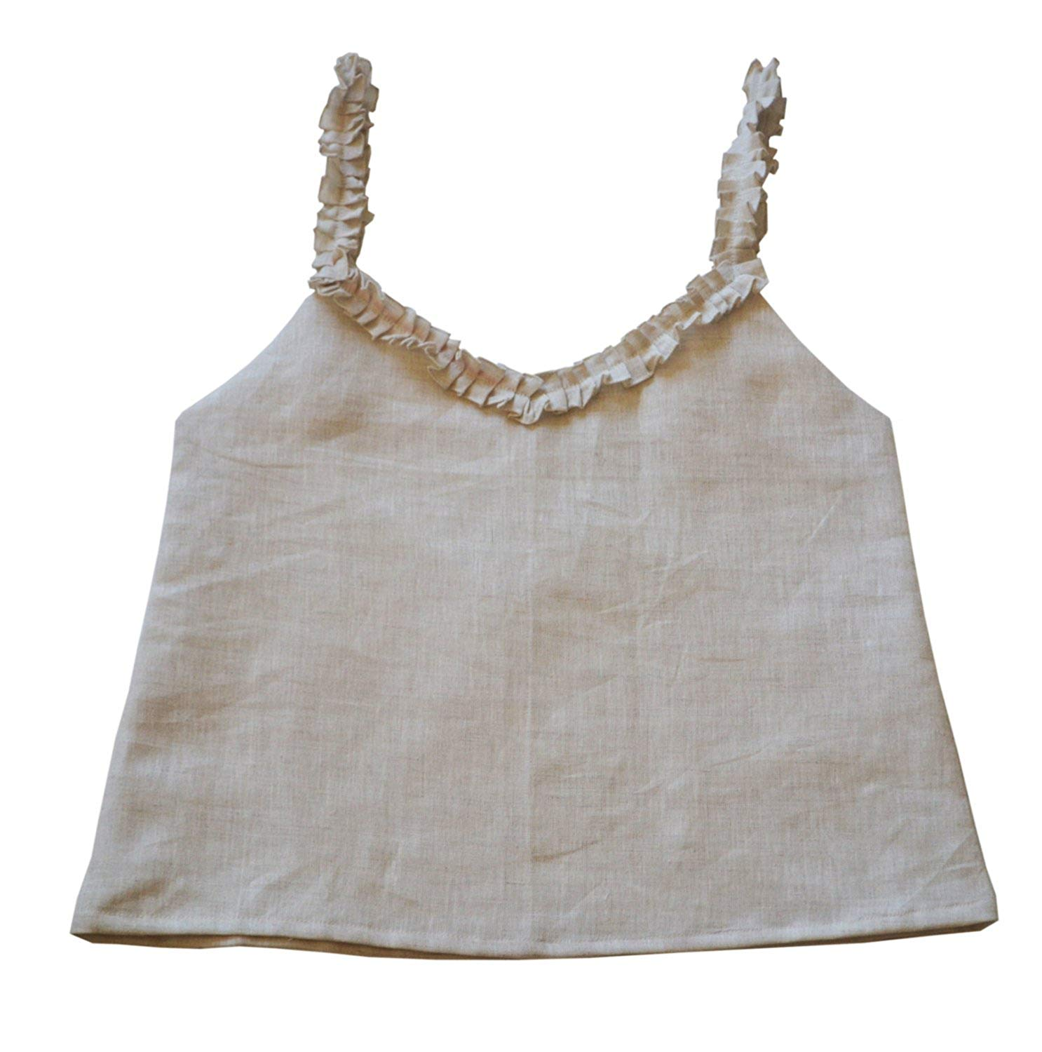 Buy Amore Beaute Handcrafted Custom Linen Top With Cute Ruffled Straps And  Neck Camisole in Cheap Price on m.alibaba.com cccb52eb5